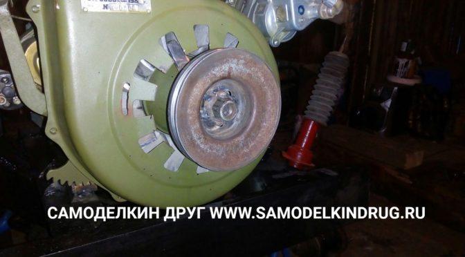 Установка шкива под генератор на ДВС УД-2 спереди крыльчатки