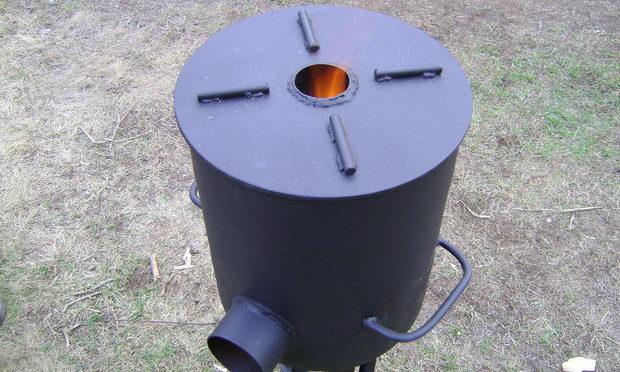 Как сделать печь-ракету с плитой своими руками