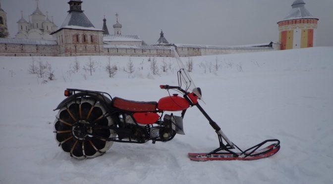 Снегоход-мотоцикл одноколейный