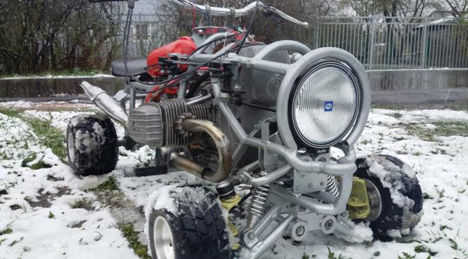 Самодельный тарабайк с двигателем от мотоцикла Днепр