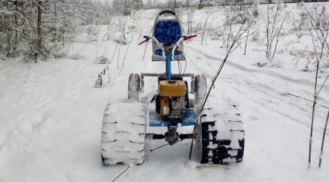 Самодельный вездеход-снегоход из мотоблока