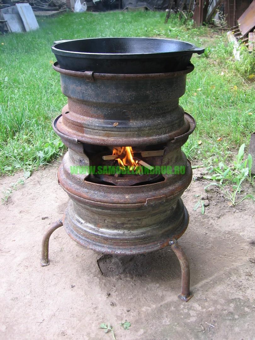 Разборная печь под казан из колесных дисков