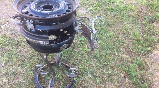 печь под казан из двух автомобильных дисков